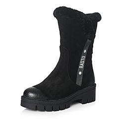 BASTO/百思图2017冬季黑色牛二层皮/羊毛皮休闲保暖圆头粗跟女皮靴中筒靴REY60DZ7
