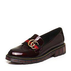 BASTO/百思图秋季酒红色牛皮学院风条纹方跟乐福鞋女单鞋73265CM7