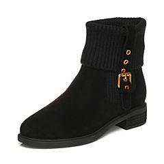BASTO/百思图2017冬季黑色羊绒皮/毛线休闲舒适方跟女皮靴短靴60866DD7