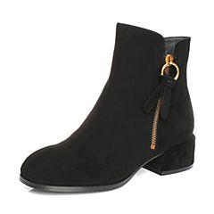 BASTO/百思图2017冬季黑色羊绒皮方头简约休闲方跟女皮靴短靴85771DD7