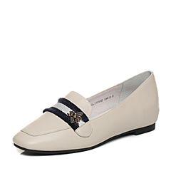BASTO/百思图秋季专柜同款白色牛皮/布面休闲简约浅口方跟女单鞋17C95CQ7