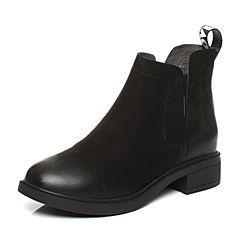 BASTO/百思图2017冬季黑色牛皮简约帅气休闲字母女皮靴短靴RAI49DD7
