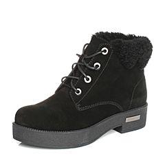 BASTO/百思图2017冬季黑色牛剖层皮革简约休闲系带方跟女休闲靴短靴X6223DD7