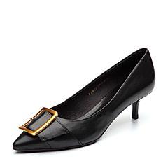 BASTO/百思图2018春季专柜同款黑色牛皮金属扣尖头细跟通勤女皮鞋RIW22AQ8
