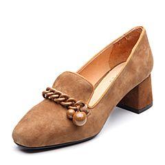 BASTO/百思图2018春季专柜同款啡色羊绒皮方头粗跟浅口女皮鞋RGA20AQ8
