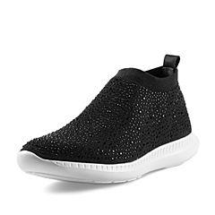 BASTO/百思图2018春季专柜同款黑色纺织物水钻坡跟女休闲鞋YMM01AM8