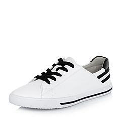 BASTO/百思图2018春季专柜同款白色软面牛皮系带小白鞋女休闲鞋YIP45AM8