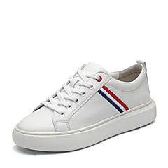BASTO/百思图2018春季专柜同款白色软面牛皮系带条纹小白鞋女休闲鞋YLR02AM8