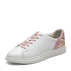 BASTO/百思图2018春季专柜同款白/粉软面牛皮/布面拼接系带女休闲鞋YKW05AM8