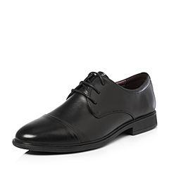 BASTO/百思图2018春季专柜同款黑色打蜡牛皮简约商务正装男皮鞋BRJ03AM8