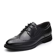 BASTO/百思图2018春季专柜同款黑色打蜡牛皮镂花系带方跟男皮鞋AYF11AM8