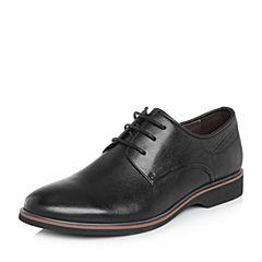 BASTO/百思图2018春季专柜同款黑色软面牛皮商务休闲方跟男皮鞋BQE02AM8