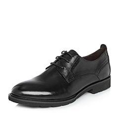 BASTO/百思图2018春季专柜同款黑色水牛纹牛皮商务休闲男皮鞋AYF10AM8