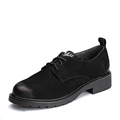 BASTO/百思图2018春季专柜同款黑色牛皮系带休闲方跟女皮鞋BA377AM8