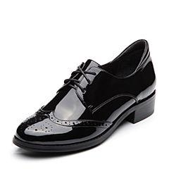 BASTO/百思图2018春季专柜同款黑色牛皮靓丽漆皮系带方跟女单鞋AC961AM8