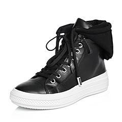 BASTO/百思图2018春季专柜同款黑色布面/牛皮时尚连帽系带女休闲鞋YNV01AM8
