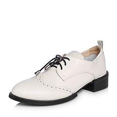 BASTO/百思图2018春季专柜同款米色牛皮系带休闲方跟女单鞋RMD20AM8