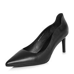 BASTO/百思图2018春季专柜同款黑色牛皮通勤尖头浅口细高跟女单鞋A8056AQ8