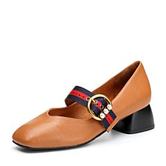 BASTO/百思图2018春季专柜同款棕色牛皮珍珠小V口方头复古女皮鞋RBG25AQ8