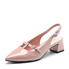 BASTO/百思图2018春季专柜同款粉色漆皮牛皮尖头粗跟女凉鞋RMA01AK8