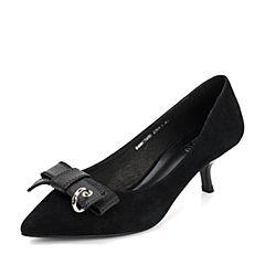 BASTO/百思图2018春季专柜同款黑色羊皮/牛皮浅口尖头蝴蝶结细跟女皮鞋AC595AQ8