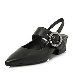 BASTO/百思图2018春季专柜同款黑色牛皮尖头珍珠粗跟女皮凉鞋AA303AH8