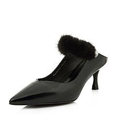 BASTO/百思图2018夏季专柜同款黑色牛皮/貂毛皮珍珠细跟女凉鞋PA761BH8