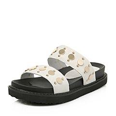 BASTO/百思图2018夏季专柜同款白色牛毛皮休闲简约女凉拖鞋RNE15BT8
