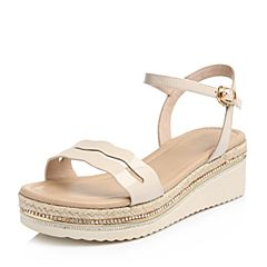 BASTO/百思图2018夏季专柜同款米色漆皮牛皮革简约坡跟女凉鞋RMX03BL8