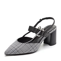 BASTO/百思图2018夏季专柜同款灰白/黑格子布/牛皮革粗跟尖头女凉鞋RCA08BH8
