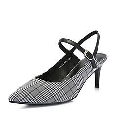 BASTO/百思圖2018夏季專柜同款灰白/黑格子優雅細跟女涼鞋RLR06BH8