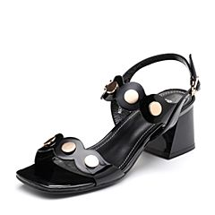 BASTO/百思图2018夏季专柜同款黑色牛皮革一字带粗跟女凉鞋NB859BL8
