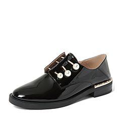 BASTO/百思图2018秋季专柜同款黑色光面牛皮革珍珠漆皮方跟女单鞋YUI01CM8