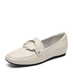 BASTO/百思图2018秋季专柜同款米白色软面牛皮革珍珠浅口休闲女单鞋YNJ08CQ8