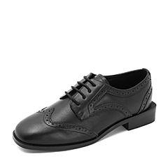 BASTO/百思图2018秋季专柜同款黑色牛皮革镂花英伦风系带女单鞋RRF20CM8