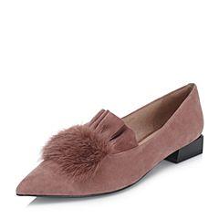 BASTO/百思图2018秋季专柜同款暗红色羊皮革/貂毛皮尖头浅口女单鞋RQQ26CQ8