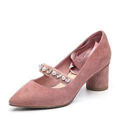 BASTO/百思图2018秋季专柜同款粉色羊皮革珍珠绑带粗跟女浅口鞋A0112CQ8