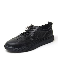 BASTO/百思图2018秋季专柜同款黑色牛皮革纯色平跟男休闲鞋A8023CM8
