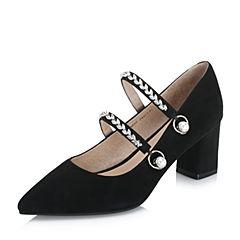 BASTO/百思图2018秋季专柜同款黑色羊皮革珍珠浅口粗跟女单鞋A0583CQ8