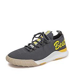 BASTO/百思图2018秋季专柜同款灰色纺织物字母青春系带男休闲鞋BZL01CM8