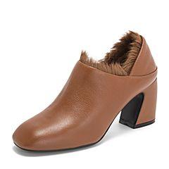 BASTO/百思图2018秋季专柜同款焦糖色牛皮革简约纯色粗跟女皮鞋A1256CM8