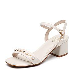 BASTO/百思图2018夏季专柜同款米白色羊皮革珍珠一字带粗跟女凉鞋CB803BL8