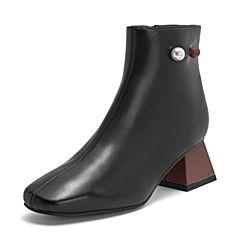 BASTO/百思图2018冬季黑色油蜡牛皮革珍珠粗跟女皮靴短靴RSS40DD8