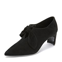 BASTO/百思图2018秋季专柜同款黑色羊皮革蝴蝶结简约粗跟女单鞋PD300CM8