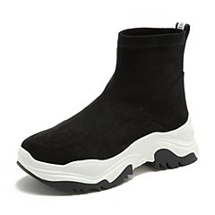 BASTO/百思图2018冬季黑色植绒布织带坡跟休闲女短靴YWQ01DD8