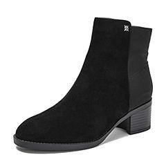 BASTO/百思图2018冬季专柜同款黑色羊皮革/布面侧拉链方跟女皮靴短靴RSN40DD8