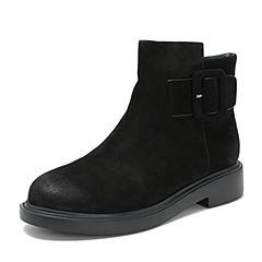 BASTO/百思图2018冬季专柜同款黑色牛皮革侧拉链方跟女皮靴短靴DD708DD8