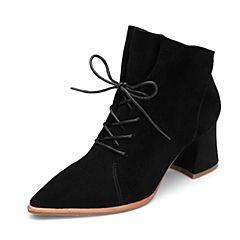 BASTO/百思图2018冬季专柜同款黑色羊皮革尖头系带粗跟女皮靴短靴PDA20DD8