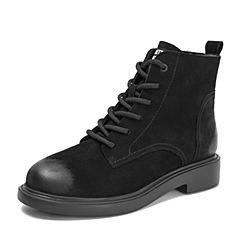 BASTO/百思图2018冬季专柜同款黑色牛皮革系带马丁靴方跟女皮靴短靴DD701DD8