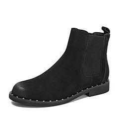 BASTO/百思图2018冬季专柜同款黑色牛皮革/布面简约套筒切尔西靴女皮靴短靴BD819DD8